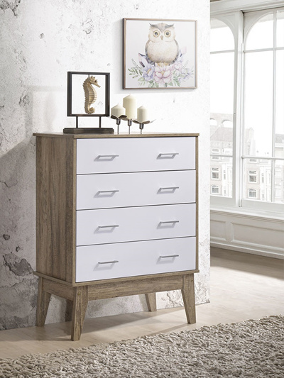 Christopher Knight Home 295315 Luna Four Drawer Chest Brown Mahogany