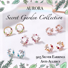 AURORA | 925 SILVER EARRINGS | SECRET GARDEN COLLECTION | ANTI ALLERGY| ACCESSORIES | FLORAL JEWELRY