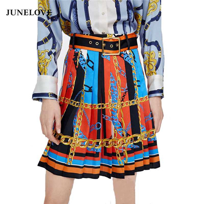 c5c051546e409 factory JuneLove Women Spring Chain Print Mini Skirts Vintage Sashes Female  A-Line Skirts Casual Sex