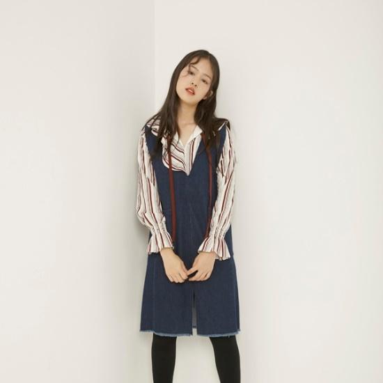 ラブLAPVネクロングスリムデニムワンピースAH4DOA60 面ワンピース/ 韓国ファッション
