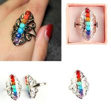 Fashion Women Colorful Natural Gemstone Crystal Ring Seven Chakras Personality Ring