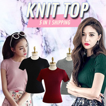 [5 in 1 Shipping] round neck top/ roll neck top knit wear/ sleeveless/ short sleeve/ long sleeve