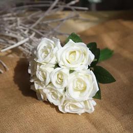 Silk flower roes bouquet (white 9stalks)