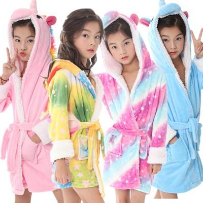 adbeb5dc01 Kids Unicorn Pajamas Soft Bathrobe Fleece Sleepwear Comfortable Loungewear  Nightgown Flannel Robe