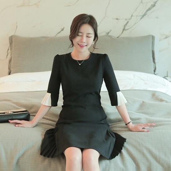 悪女日記】ザ・オー・プリーツワンピース5577 綿ワンピース/ 韓国ファッション