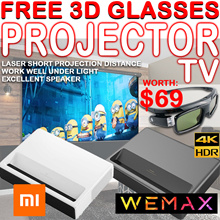 Free 3D Glasses ❤ $2150❤[BEST SG] XIAOMI WEMAX TV  projector short throw 4k android from 42to 150inch