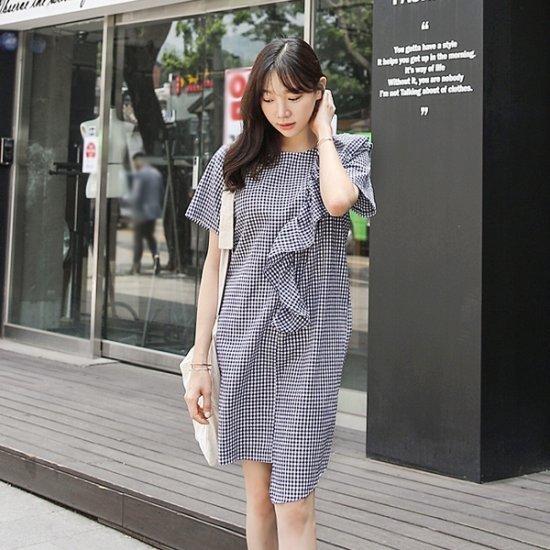 ロロテンドゥイッリボンチェックops 綿ワンピース/ 韓国ファッション