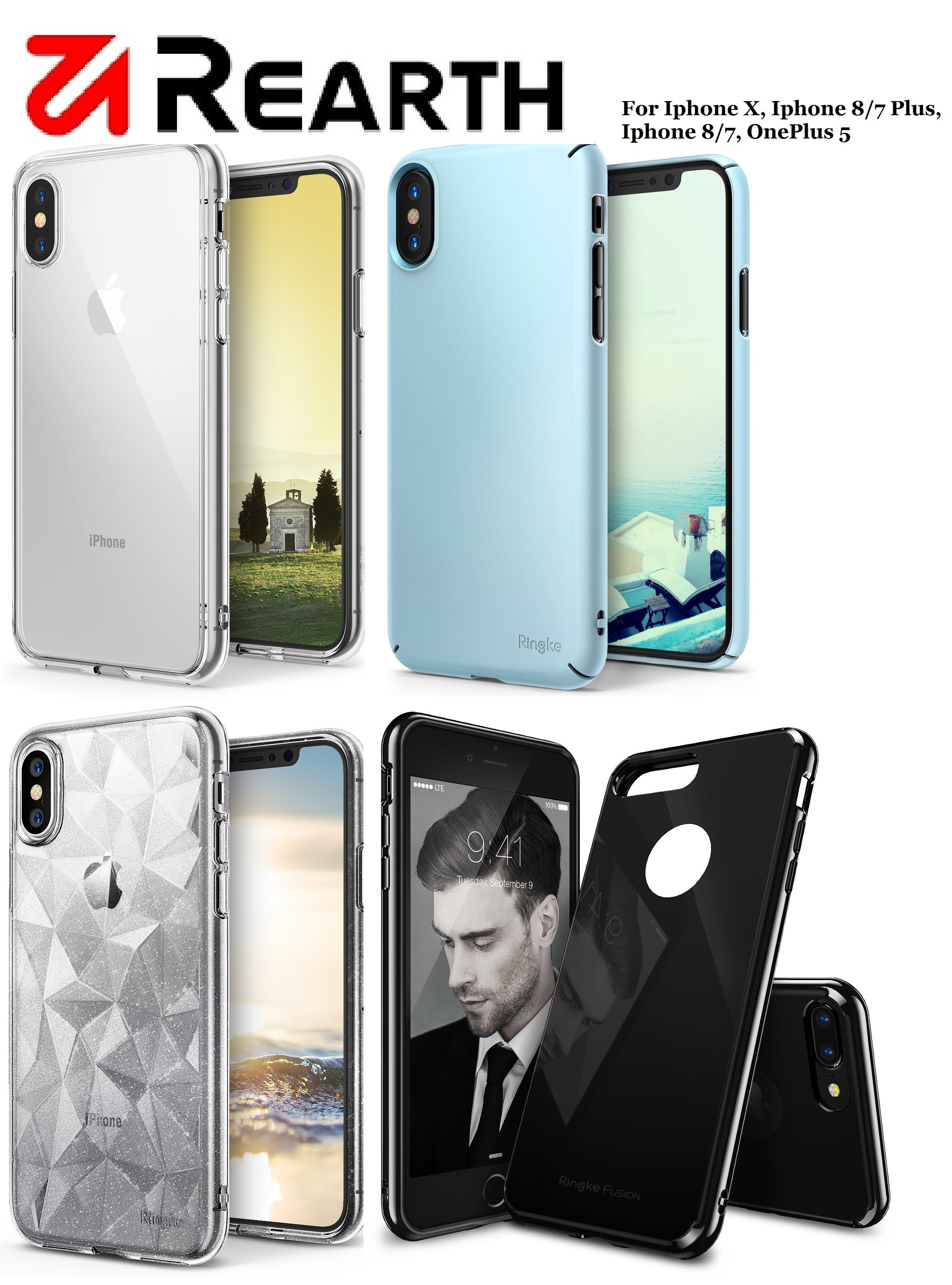 Qoo10 Iphone Xs Max Xr X 8 7 Oneplus 5 Case By Ringke Rearth Edge Black Actual Size