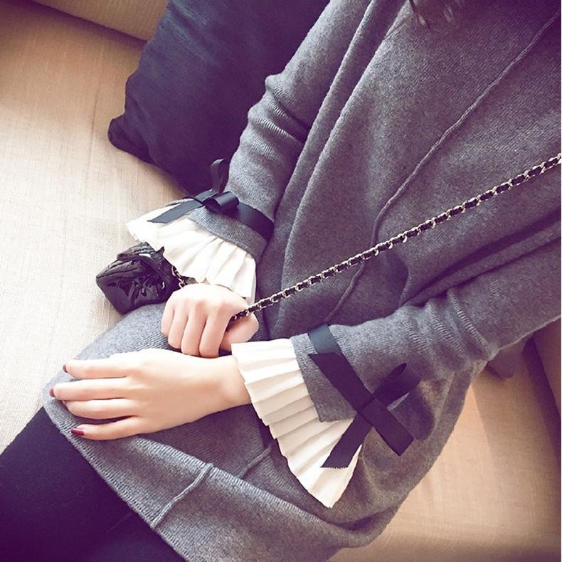 2017早秋  韓国ファッション  レディース  ワンピース 流行 体型 カバー  ニット 長袖 可愛い  上質  SKZ166