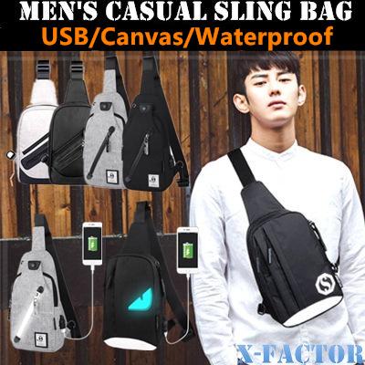 Qoo10 sling bag mens bags shoes usb sling bag canvas sling bagnylon sling bagmens bagmessenger fandeluxe Gallery