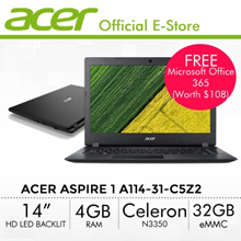 [Student Selection] Acer Aspire 1 A114-31-C5Z2 Laptop - 14 HD LED backlit TFT LCD - Online Exclusive