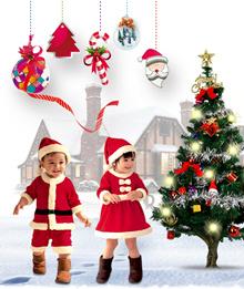 Kids Christmas Costumes Xmas Party Dress Hats Santa Claus Santarina Dress Baby Rompers