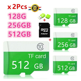 2Pcs New high Capacity Micro SD Memory Card 2Pcs(128GB   256GB) Class 10 +SD TF Card