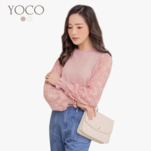 YOCO - Textured Floral Sleeves Blouse-180180