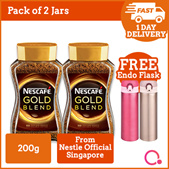 [NESTLE] 1+1: Nescafe GOLD BLEND instant soluble coffee 200g FREE ENDO VACUUM MUG