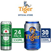 Tiger Beer 330ml x 30 Cans OR Heineken 330ml x 24 Cans. Free Heineken Festive Xmas Happy Socks N Glassware! Cart Coupon Can Be Used!!