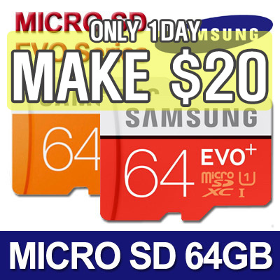 [MAKE $20!]? SAMSUNG Micro SDXC 64GB EVO / EVO PLUS / Class 10 Deals for only S$99 instead of S$0