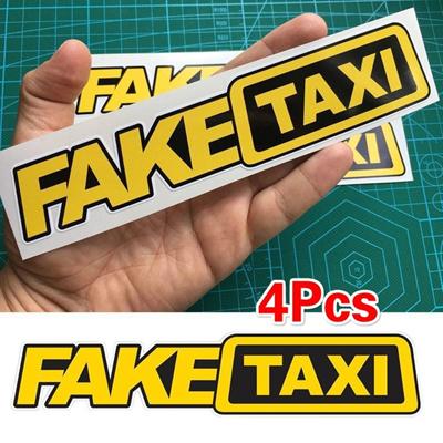 4pcs Fake Taxi Sticker Vinyl Decal Car Turbo JDM Window Drift Funny Tuning