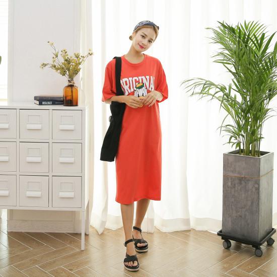 クルリクエンミドクドクロングワンピース プリントのワンピース/ 韓国ファッション
