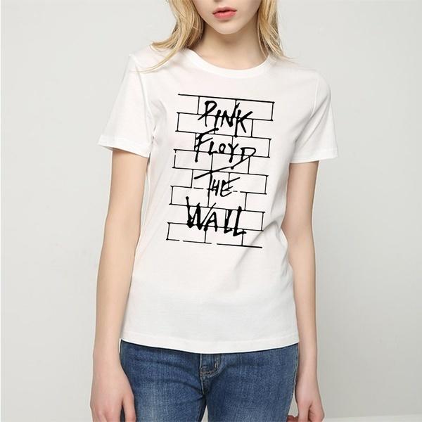夏の女性ファッションストリートスタイルロックバンドピンクフロイドウォールプリントTシャツカジュアルOネックショート