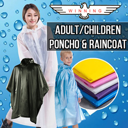 ★WINNING★ CHILDREN AND ADULT VINYL PVC PONCHO/RAINCOAT. DISPOSABLE/REUSABLE WITH VARIOUS DESIGNS