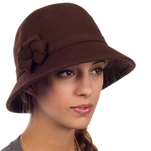 f0c2f3929 Sakkas 20M Molly Vintage Style Wool Cloche Hat - Brown - One Size