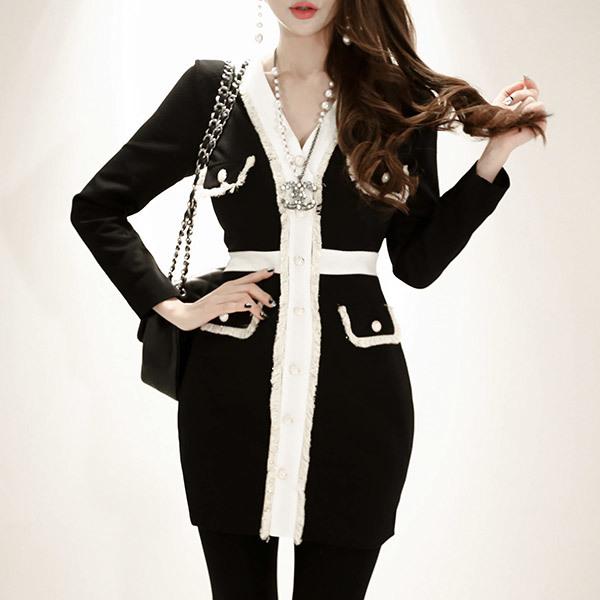 marlangrouge(韓国ファッション)[marlangrouge]フリンジライン配色ワンピース