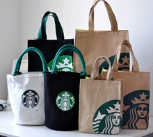 Starbuck Bottle Canvas Tote Bag/Starbuck s Handbag/Starbuck s Lunch Bag/Shoulder Bag/Shopping Bag