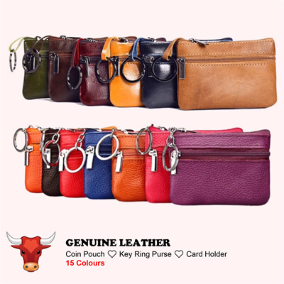ac5ac5186691 💥Vintage Genuine Leather💥Small Zipper Coin Pouch Card Holder Wallet Key  Chain Purse
