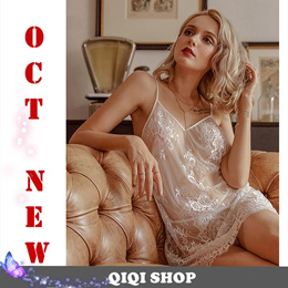 8182161ecf1 COUPON · [QIQI SHOP]Sexy Lingerie Night pajama dress Lace Sleepwear Corsets  valentine