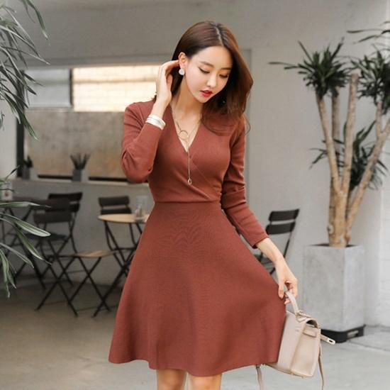スィジュコムインロラレプワンピースフレアワンピースセミラップワンピースミディワンピースブイネクワンピース 綿ワンピース/ 韓国ファッション