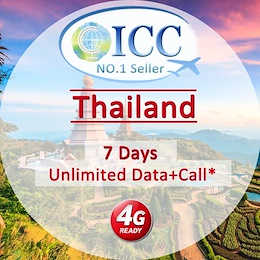 ◆ ICC◆【Thailand Sim Card· 3-10 Days】❤ Unlimited 4G* data+Call (Same User)❤Unlimited Data❤ Can Extend
