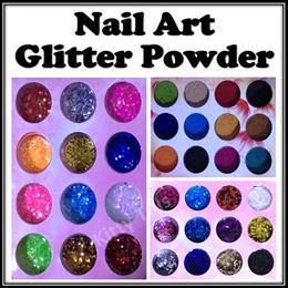 ◆ Nail Art Glitter Powder (12 Box Bottle Per Set) Colors Acrylic Sparkle Shiny Manicure Décor 3D