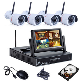4CH Wireless 7 Inch LCD Screen NVR Kit 720P HD Outdoor Security Wifi Camera CCTV System 1TB HDD