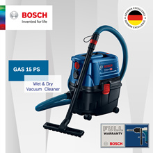 [Official E-Store] Bosch GAS 15 PS Wet and Dry Vacuum Cleaner. Compact and Impact Resistant!