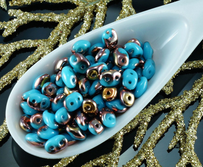 20g Turquoise Blue Gold Capri SuperDuo Czech Glass Seed Beads Two Hole  Super Duo 2 5mm x 5mm