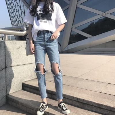 18af22559 Qoo10 - South Korea Ulzzang Summer Korean style knee big old hole ...