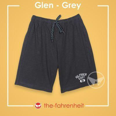 Glen Comfy Tie-Waist Shorts For ManGrey