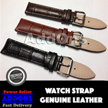 NEW Alligator Crocodile design Genuine Leather Stainless Steel Buckle Watch Strap Band