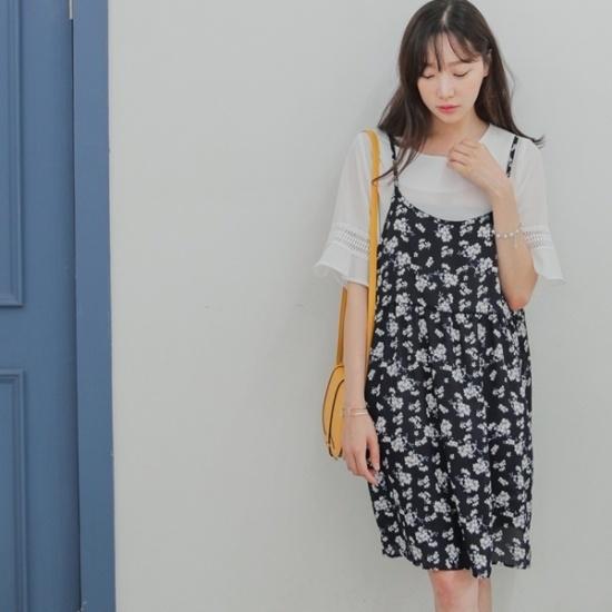 ロロテンオーサムフラワーOPS プリントのワンピース/ 韓国ファッション
