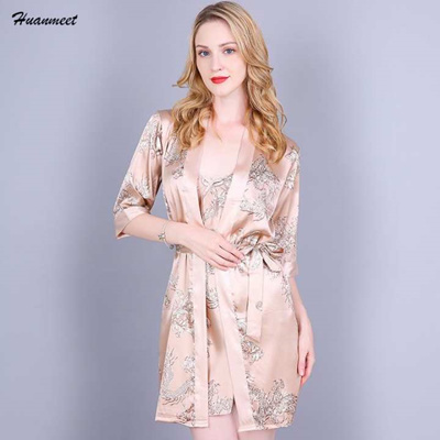 super cheap buying now arriving Women Satin Nightgown Robe Set Sexy Mini Nightwear Casual Sleepwear Silk  Pajamas Night Dress and Rob