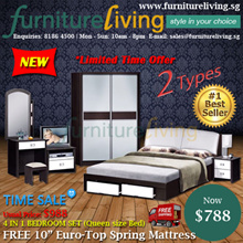 [FURNITURE LIVING SG] 4in1 Bedroom Set + FREE 10inch Euro-Top Spring Mattress SPECIAL DEAL
