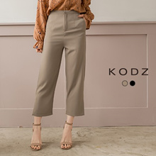 KODZ - Plain Button Front Slit Hem Straight Pants - 182595