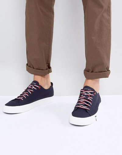f67761db966af1 Qoo10 - Tommy Hilfiger Dino Canvas Sneakers in Navy   Shoes