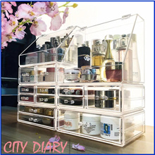 Acrylic Stackable organizer Extra big Jewelry Cosmetic organizer Makeup box earring Storage box