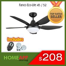 [HomeApp] ★ FANCO Eco-Lite 45 52 inch ★ Ceiling fan with LED Light Remote. FREE BULBS / INSTALLATION