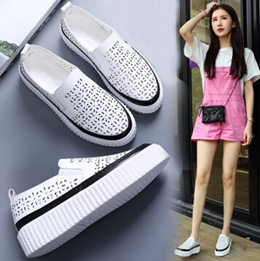 Carrefour shoes leather hollow a pedal lazy casual shoes heavy-bottomed platform shoes flat with fla