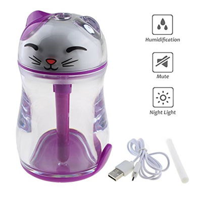 Tipmant Portable Mini Lucky Cat Air Mist Humidifier with Led Night Lights, USB Powered for Bedroom,