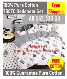 Promo (Free Shipping)- ★100% Pure Cotton 700TC★ Bedsheet Set