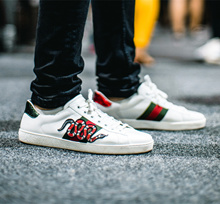 Supreme Ace Embroidered Low-Top Supreme shoes leather shoes embroidery Tiger LV head snake bee